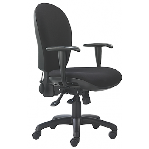 High back operators chair with height adjustable arms