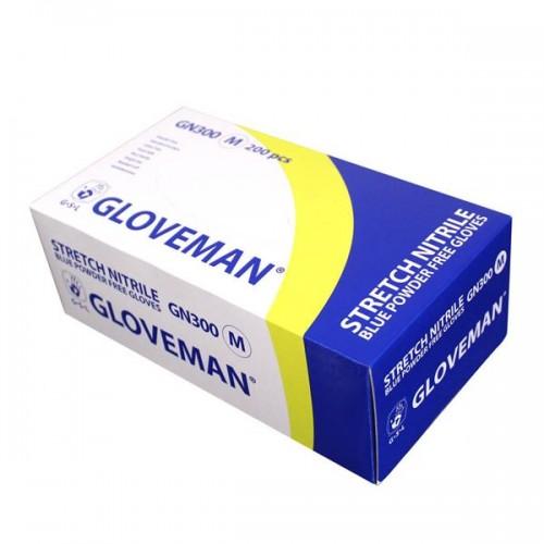 Box of 200 Gloveman Blue Stretch Nitrile Powder Free Gloves - Size Large