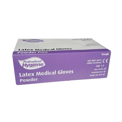 100 Pack - Professional Hygiene®Latex Powered disposable gloves - Size Small