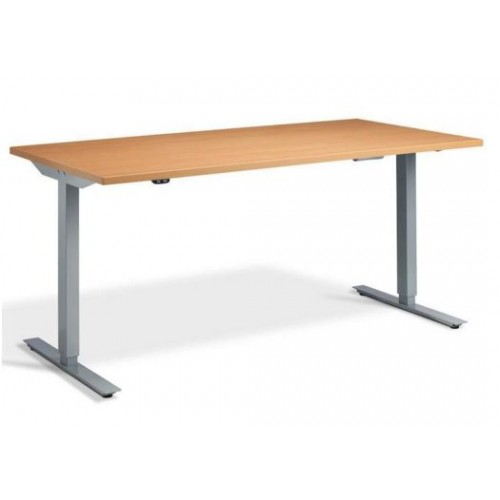 Lavoro Edge Height Adjustable Desk 1400mm X 700mm Silver Frame Beech Top