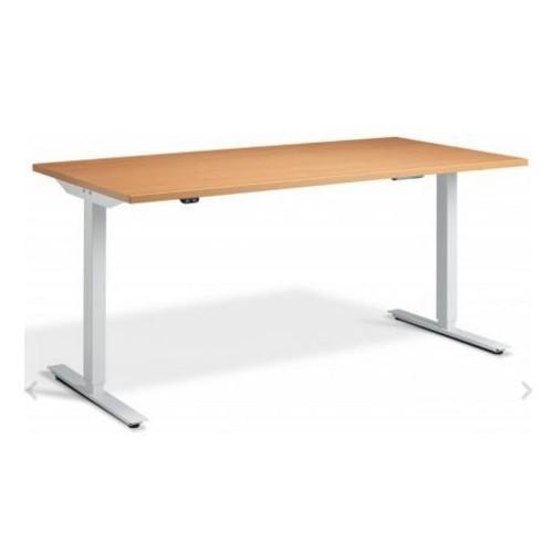 Lavoro Edge Height Adjustable Desk 1400mm X 700mm White Frame Beech Top