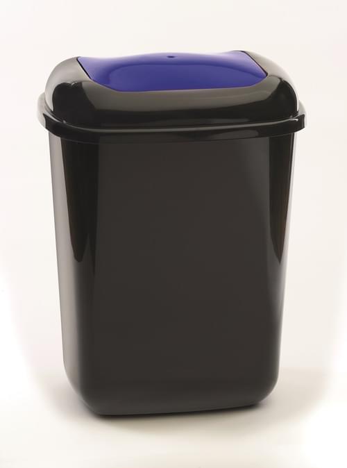 28 Litre Plastic Bin With Blue Push Lid