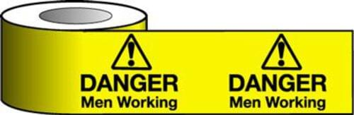 Barrier Warning Tape - 150mm x 100m - Danger Men Working