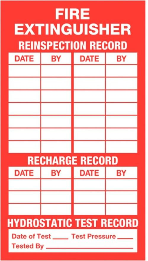 Fire Extinguisher Inspection / Recharge Label