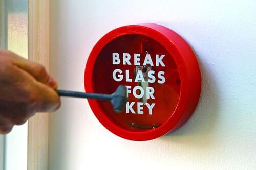 Break Glass Key Holder with Printed Glass