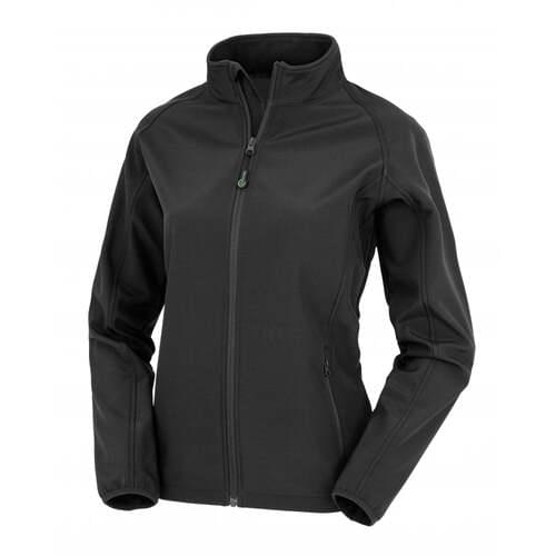 Women's Recycled 2-Layer Printable Softshell Jacket- Black, Large