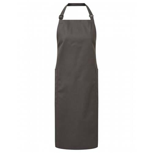 Recycled Polyester And Cotton Bib Apron- Dark Grey