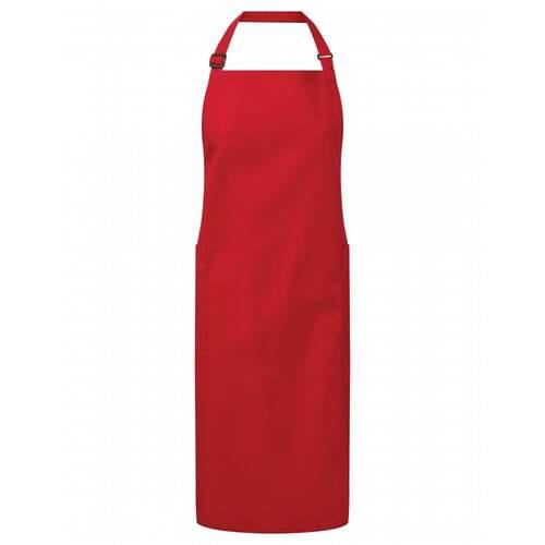 Recycled Polyester And Cotton Bib Apron- Red