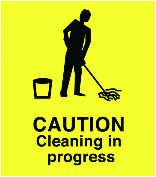 A Board - Caution Cleaning in Surface