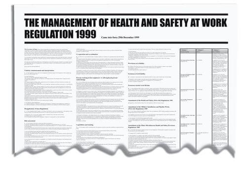 840x570mm The Management of Health & Safety at Work Regulation 1999 Wallchart