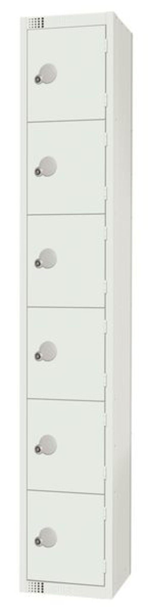 6 Compartment Locker - White - 1800 x 300 x 300mm