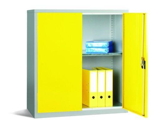 Workplace Storage Cupboard - 1 shelf - 2 Doors - Yellow - 1000 x 915 x 457mm (HxWxD)