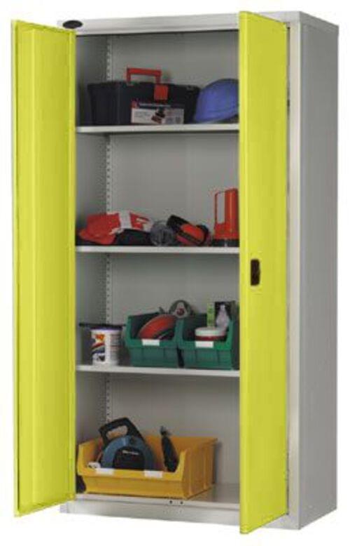 Workplace Storage Cupboard - 3 shelves - 2 Doors - Yellow - 1830 x 915 x 457mm (HxWxD)