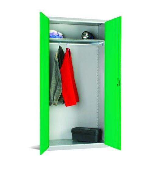 Workplace Storage Cupboard - With Rail - 1 Shelf - 2 Doors- Green - 1830 x 915 x 457mm (HxWxD)