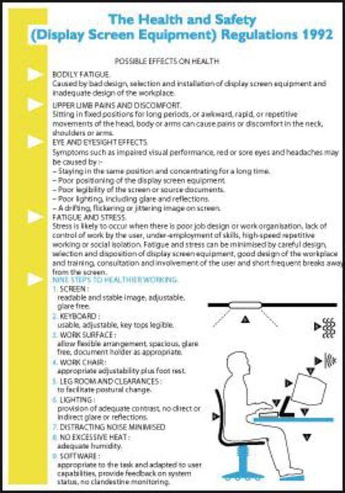 600x420mm The Health & Safety Display Screen Equipment Regulations 1992 Wallchart
