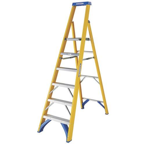 Werner Fibreglass 6 Tread Platform Step Ladder
