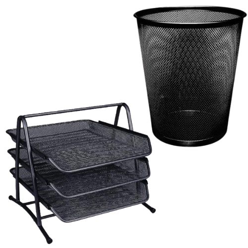 Black Mesh Waste Basket and Letter Trays