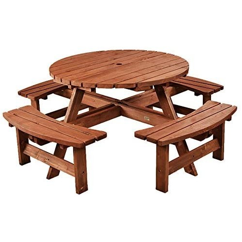 Brown Picnic Bench 8 Seater