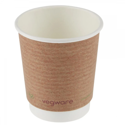 8oz Compostable Double Wall Coffee Cups- Pack of 500