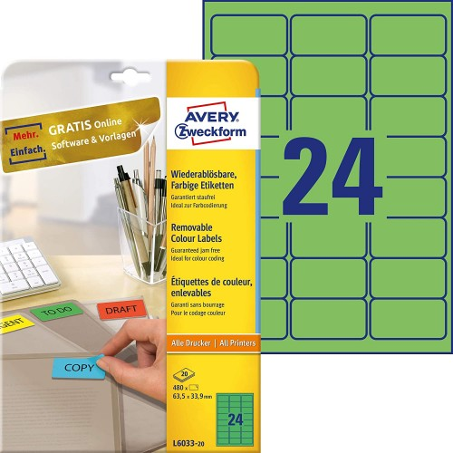Avery L6033-20 Self-Adhesive Removable Green Filing Labels, 24 Labels Per A4 Sheet
