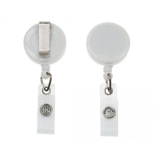 White Retractable Badge Reel- Pack of 5