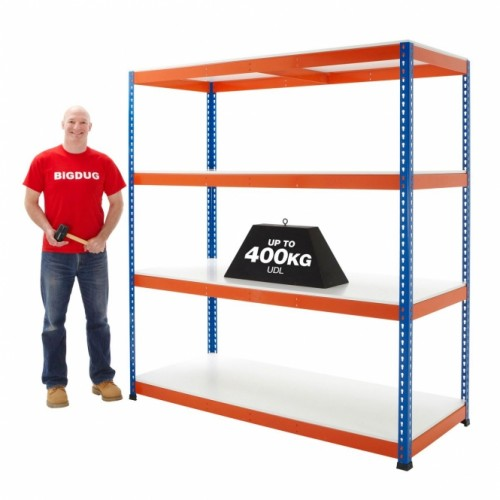 BiG400 Blue and Orange Racking with Chipboard Shelves