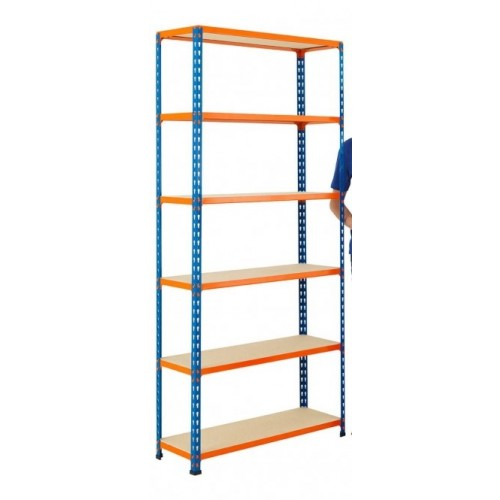 BiG340 Blue & Orange 1980mm High Shelving With Chipboard Shelves