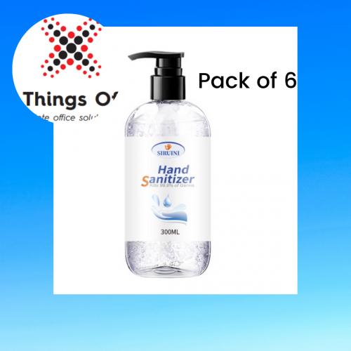 6 Pack of Siruini Hand Sanitiser 300ml Pump Action Bottles