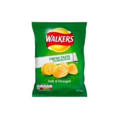 Walkers Salt and Vinegar Crisps 32g bags - Pack of 32