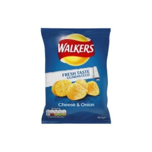 Walkers Cheese and Onion Crisps 32g Bags - Pack of 32