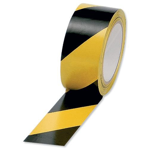 Hazard Tape, Black & Yellow, 48mm x 33m (1)