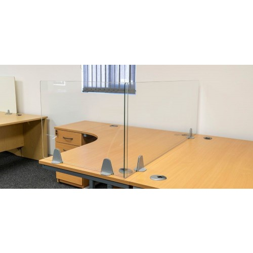 Wipe-clean, anti-viral Glass Dividing Screen, 800mm wide, 600mm high, 6mm toughened safety glass