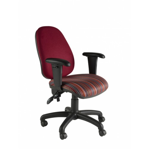 High Back Operator Chair with Height Adjustable Arms (Twin Lever on Castors)
