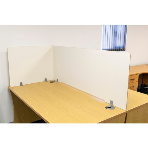 Wipe-clean, anti-viral MDF Dividing Screen, 1400mm wide, 600mm high, 8mm White MDF with radius corners and bullnose edge