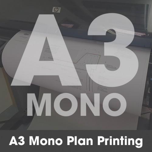 A3 Plan Printing - Black and White (Mono)