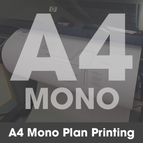 A4 Plan Printing - Black and White (Mono)
