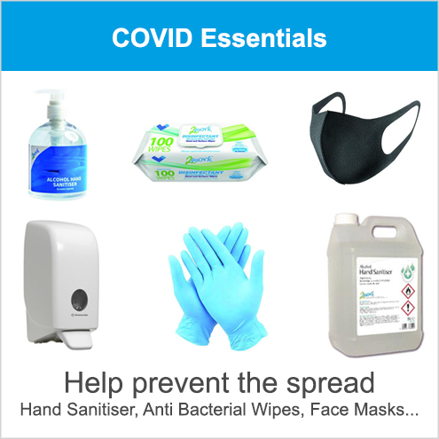 Hand Sanitiser, Anti Bacterial Wipes, Face Masks, Gloves, Dispensers, COVID Signs & Labels