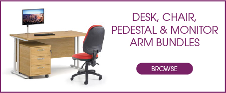 Desk, Pedestal, Monitor Arm & Chair Bundles from Kempco