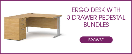 Ergo Desk with 3 Drawer Pedestal Bundles from Kempco