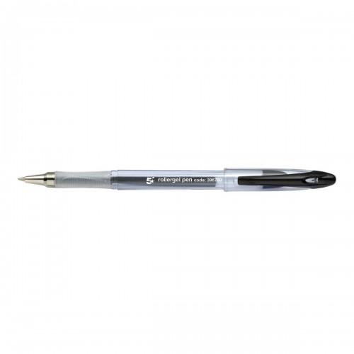5 Star Office Roller Gel Pen Clear Barrel 1.0mm Tip 0.5mm Line Black Pack 12