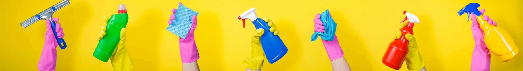 banner showing cleaning products