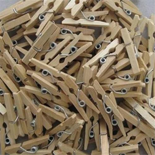 Mini Wooden Pegs Natural - 100 Pack
