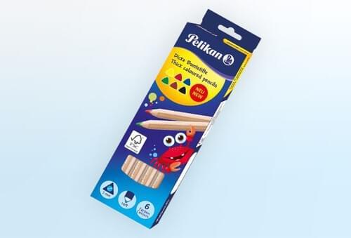Pelikan Thick Triangular Lead Pencils Astd 12pk