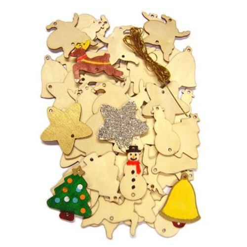 Wooden Christmas decorations - 54 Piece Set