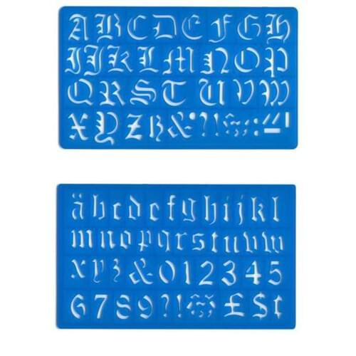 Olde English Lettering Stencil - Upper and Lower Case - 30mm