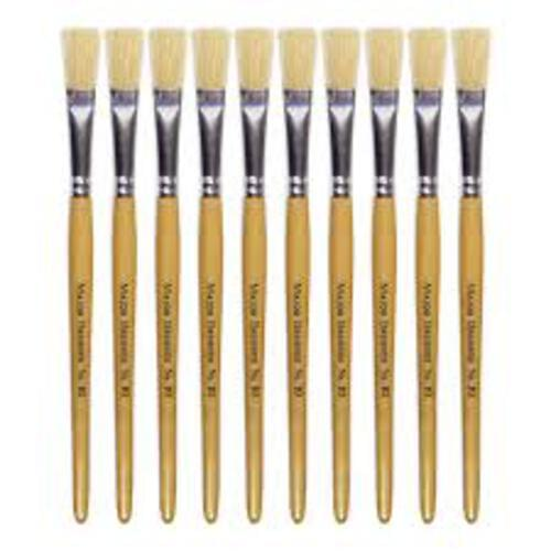 Hog Bristle Brush Long Handle Flat #2 - 10pk