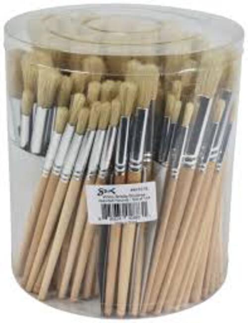 Hog Bristle Brush Long Handle Flat #6 - 10pk