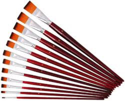"""Red Synthetic Sable 1"""" Flat tip - 12 pack"""