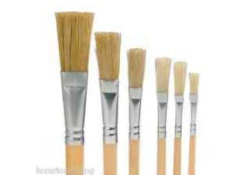 Hog Bristle Brush Short Handle Flat #6 - 10pk