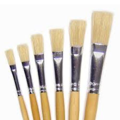 Hog Bristle Brush Short Handle Flat #8 - 10pk